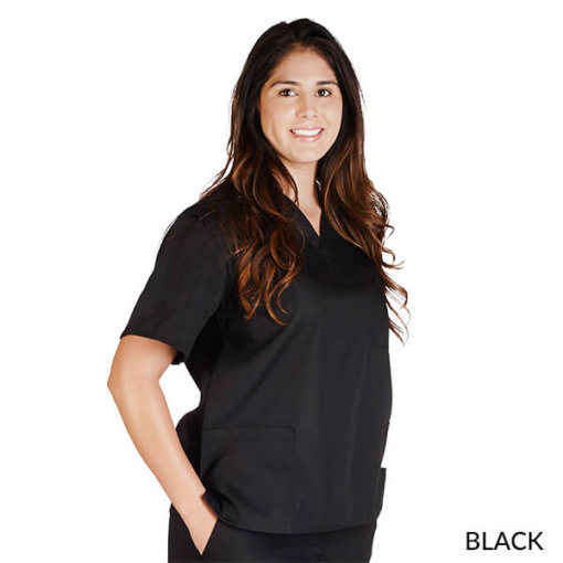 Petite-UNISEX-SOLID-V-NECK-SCRUB-TOP-Black