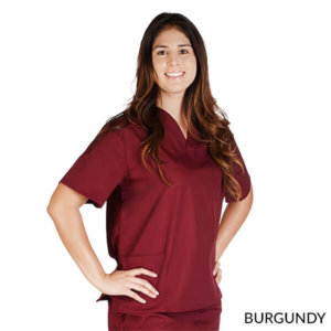 Petite-UNISEX-SOLID-V-NECK-SCRUB-TOP-Burgundy