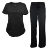 Black Drawstring Scrub Pant Shirt Set Stretch Soft Modern Fit
