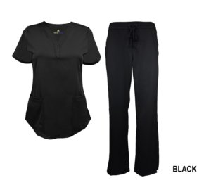 Black Scrub Set Drawstring Pant Shirt