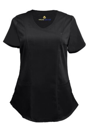 Black Ultra Soft Stretch Drop-Neck 2 Pocket Scrub Top