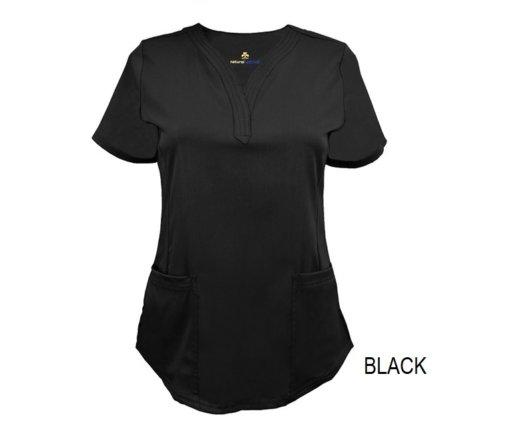 Black Ultrasoft Stretch Drop-Neck 2 Pocket Scrub Top