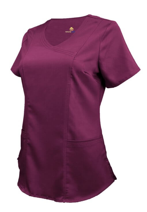 Burgundy Ultra Soft Stretch Drop-Neck 2 Pocket Scrub Top
