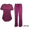 Burgundy Scrub Set Drawstring Pant Shirt