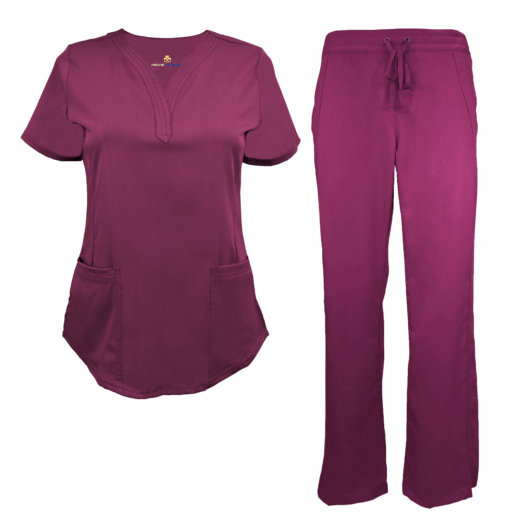 Burgundy Drawstring Scrub Pant Shirt Set Stretch Soft Modern Fit