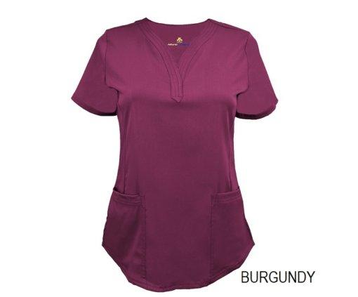 Burgundy Ultrasoft Stretch Drop-Neck 2 Pocket Scrub Top