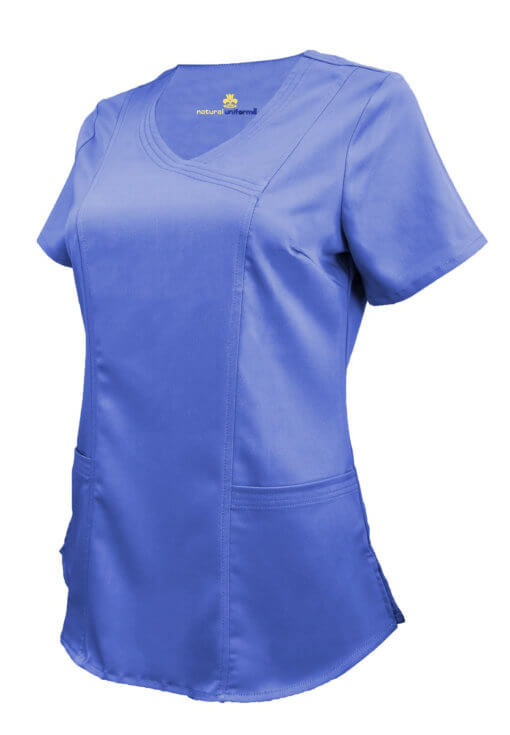 Ceil Blue Ultra Soft Stretch Drop-Neck 2 Pocket Scrub Top