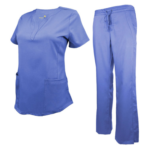 Ceil Blue Womens Drawstring Scrub Pant Shirt Set Stretch Soft Modern Fit