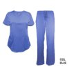 Ceil Blue Scrub Set Drawstring Pant Shirt