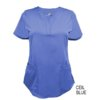 Ceil Blue Ultrasoft Stretch Drop-Neck 2 Pocket Scrub Top
