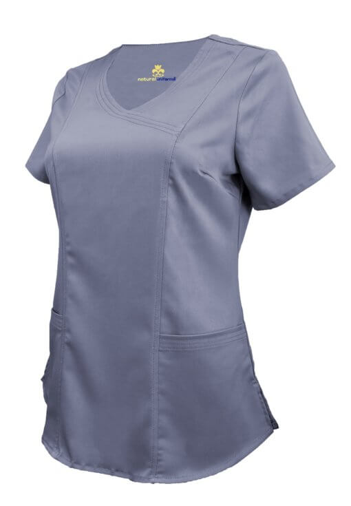Charcoal Ultra Soft Stretch Drop-Neck 2 Pocket Scrub Top