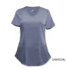 Charcoal Mock Wrap Scrub Top Shirt Soft