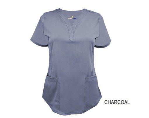 Charcoal Ultrasoft Stretch Drop-Neck 2 Pocket Scrub Top