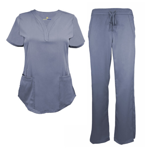 Charcoal Womens Drawstring Scrub Pant Shirt Set Stretch Soft Modern Fit