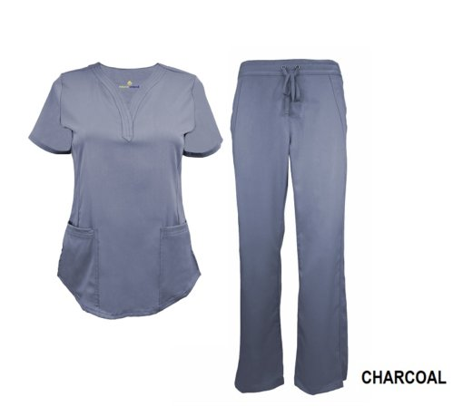 Charcoal Scrub Set Drawstring Pant Shirt