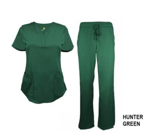 Green Scrub Set Drawstring Pant Shirt
