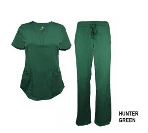 Green Scrub Set Drawstring Pant Shirt