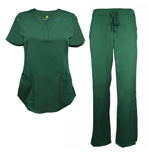 Green Drawstring Scrub Pant Shirt Set Stretch Soft Modern Fit