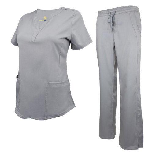 Grey Drawstring Scrub Pant Shirt Set Stretch Soft Modern Fit