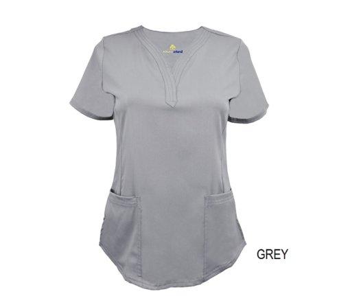 Grey Ultrasoft Stretch Drop-Neck 2 Pocket Scrub Top