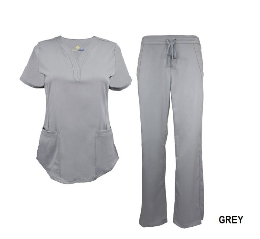 Grey Scrub Set Drawstring Pant Shirt