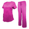 Hot Pink Drawstring Scrub Pant Shirt Set Stretch Soft Modern Fit