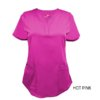 Hot Pink Ultrasoft Stretch Drop-Neck 2 Pocket Scrub Top