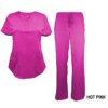 Hot Pink Scrub Set Drawstring Pant Shirt
