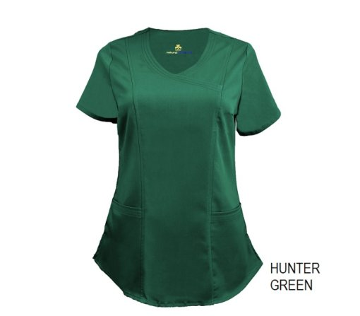 Hunter Green Mock Wrap Scrub Top Shirt Soft
