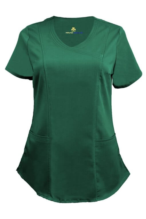 Hunter Green Ultra Soft Stretch Drop-Neck 2 Pocket Scrub Top