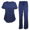 Navy Blue Drawstring Scrub Pant Shirt Set Stretch Soft Modern Fit