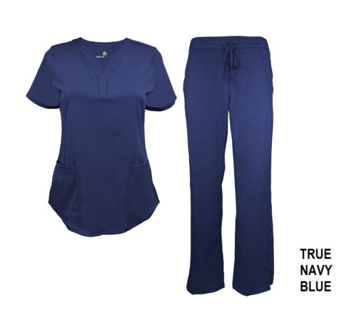 Navy Blue Scrub Set Drawstring Pant Shirt