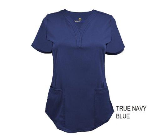 Navy Blue Ultrasoft Stretch Drop-Neck 2 Pocket Scrub Top