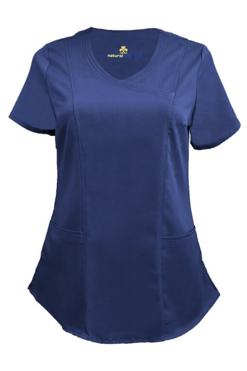 Navy Blue Ultra Soft Stretch Drop-Neck 2 Pocket Scrub Top