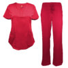 Red Drawstring Scrub Pant Shirt Set Stretch Soft Modern Fit