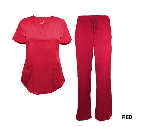 Red Scrub Set Drawstring Pant Shirt