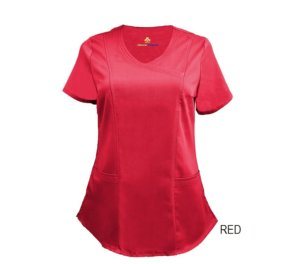 Red Mock Wrap Scrub Top Shirt Soft