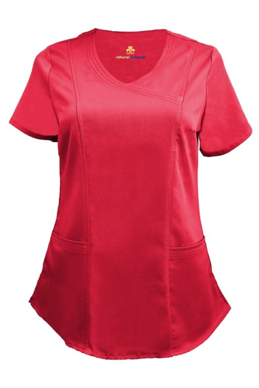 Red Ultra Soft Stretch Drop-Neck 2 Pocket Scrub Top