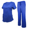 Royal Blue Drawstring Scrub Pant Shirt Set Stretch Soft Modern Fit