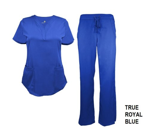 Royal Blue Scrub Set Drawstring Pant Shirt
