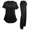 Set Black Womens Pant Soft Drawstring Scrub Pants Shirt