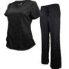 Set Black Womens Soft Modern Fit 2 Pocket Drawstring Scrub Pant Shirt