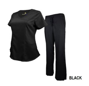 Set Black Womens Soft Modern Fit 2 Pocket Drawstring Scrub Pant Shirt