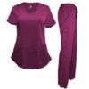Set Burgundy Womens Pant Drawstring Scrub Pants Shirt