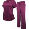 Set Burgundy Womens Soft Drawstring Scrub Pant shirt Modern Fit