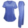 Set Ceil Blue Womens Pant Drawstring Scrub Shirt