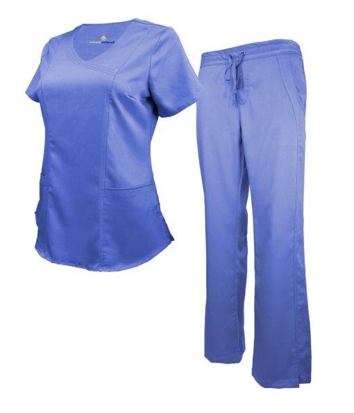 Set Ceil Blue Womens Soft Drawstring Scrub Pant Shirt Natural Uniform Modern Fit
