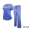 Set Ceil Blue Soft Drawstring Scrub Pant Shirt