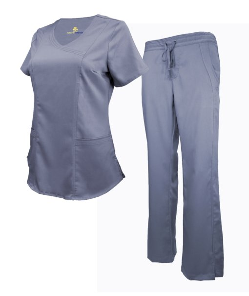 Set Charcoal Drawstring Scrub Pants Shirt