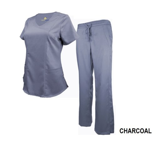 Set Charcoal Soft Drawstring Scrub Pant Shirt